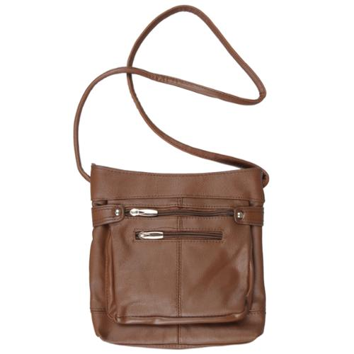 Journee Collection Genuine-Leather Lined Cross-Body Bag Brown
