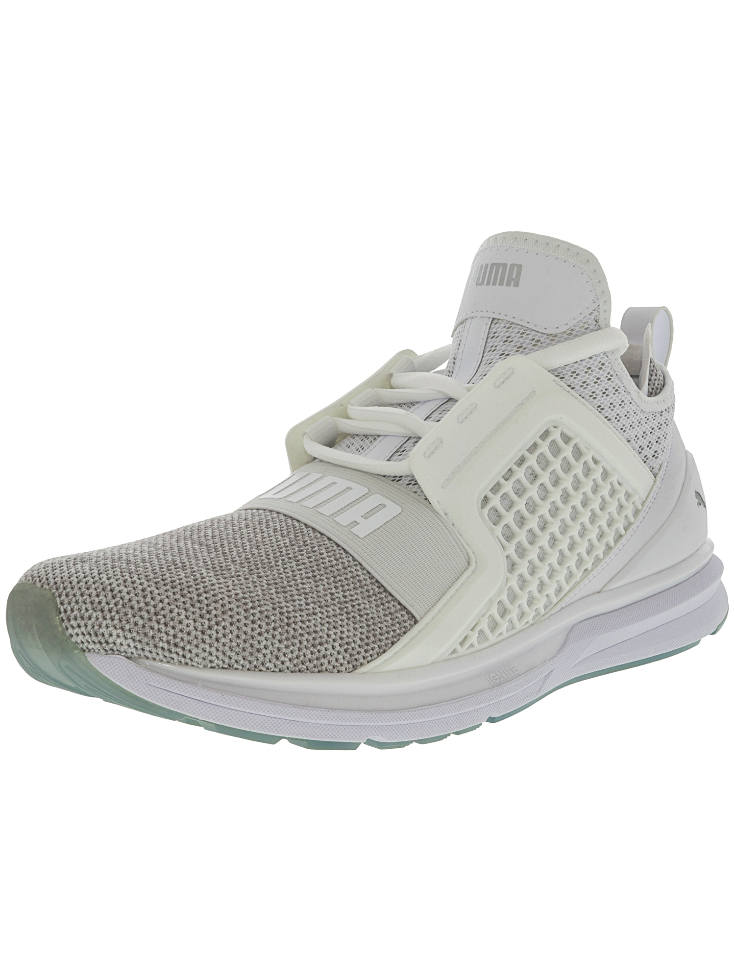Puma Men's Ignite Limitless White / Silver Ankle-High Basketball Shoe - 10.5M