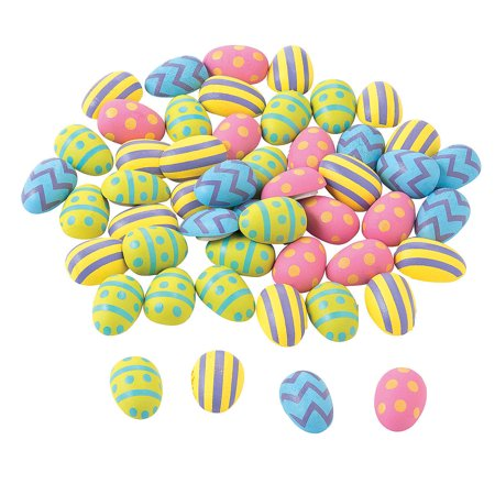 Fun Express - Adhesive Wooden Easter Eggs (50pc) for Easter - Craft Supplies - Bulk Craft Accessories - Misc Bulk Craft Accessories - Easter - 50 Pieces Adhesive Wooden Easter Eggs (50pc) for Easter - Craft Supplies - Bulk Craft Accessories - Misc Bulk Craft Accessories - Easter - 50 Pieces