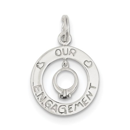 Sterling Silver Our Engagement Charm QC6010 (22mm x 18mm) - image 3 de 3