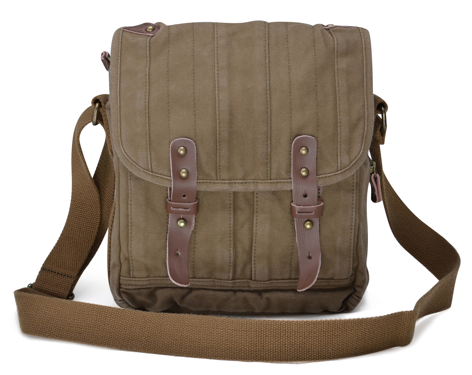 Gootium Vintage Canvas Messenger Bag Small Unisex Shoulder Satchel, Army Green