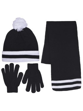 Girls Knit Beanie Scarf & Gloves Set Full Wrap Cuff & Top Pom Striped 4 Colors