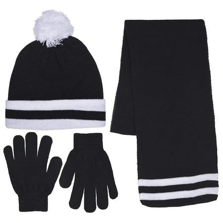 Girls Knit Beanie Scarf & Gloves Set Full Wrap Cuff & Top Pom Striped 4