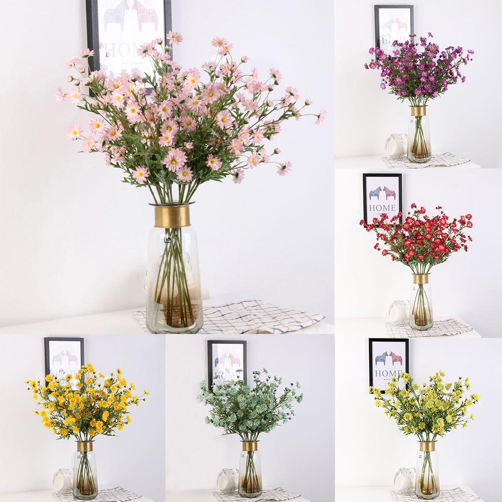 Heepo 1Pc Artificial Small Daisy Fake Flower Leaves Home Wedding Coffee Shop Decor