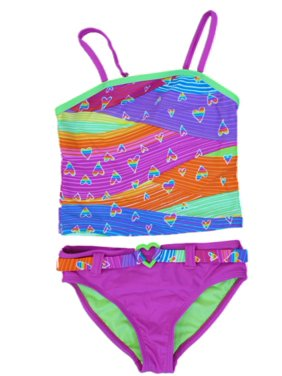 ac30cd7574058 Product Image Angel Beach Girls Neon Heart Print Tankini Swim Suit Swim  Bathing Suit 2 PC