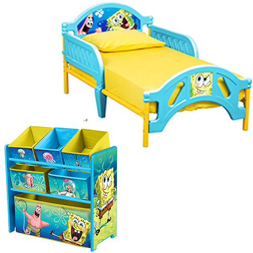 SpongeBob Toddler Bed and Multi Bin Organizer Bundle with BONUS Wall Decals