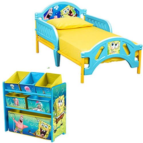 SpongeBob Toddler Bed and Multi Bin Organizer Bundle with BONUS Wall Decals