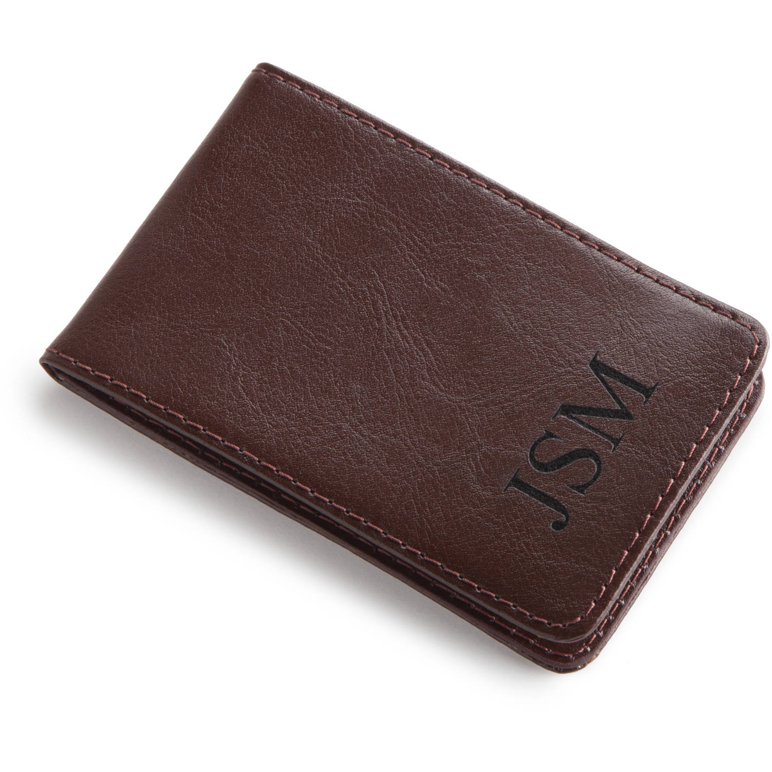 Personalized Leather Billfold Case with Money Clip