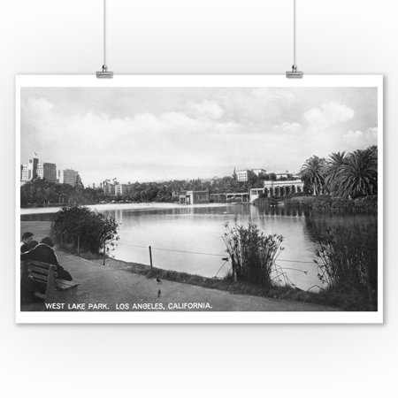 Los Angeles, CA West Lake Park City View Photograph (9x12 Art Print, Wall Decor Travel Poster) (Party City West Los Angeles)