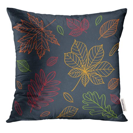 STOAG Leaf Fall of The Leaves Autumn Draw Outline Crayons on Blackboard Sketch Design Doodles Maple Drawing Throw Pillowcase Cushion Case Cover 16x16 inch ()