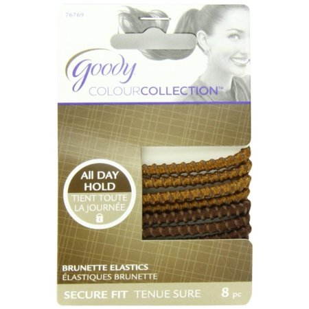 2 Pack - Goody Colour Collection Sparkly Metallic Elastic, Stay Put Hold, Brunette 8 ea