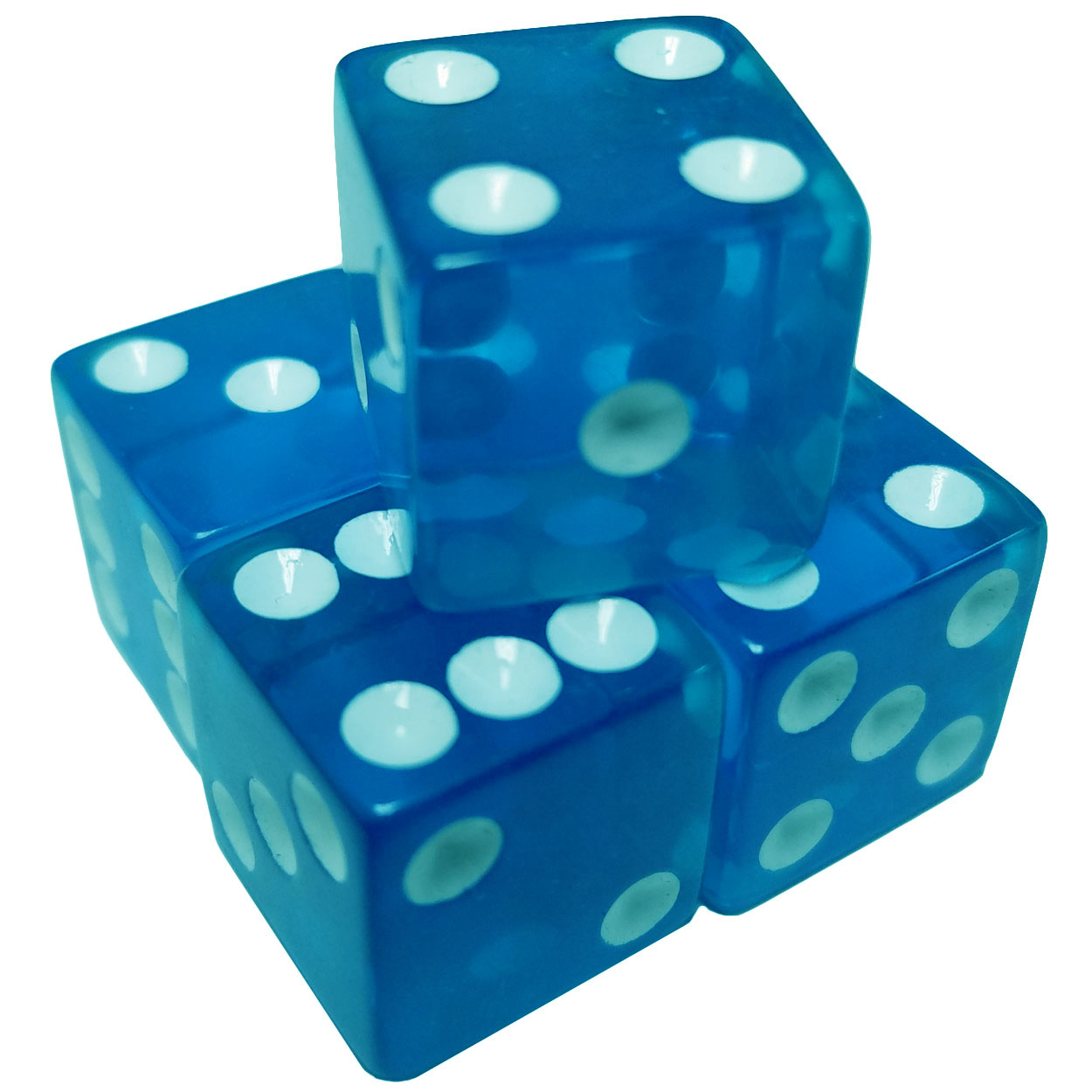 Set of 5 Transparent Blue Square Corner Dice 12mm White Spots in Snow Organza Bag