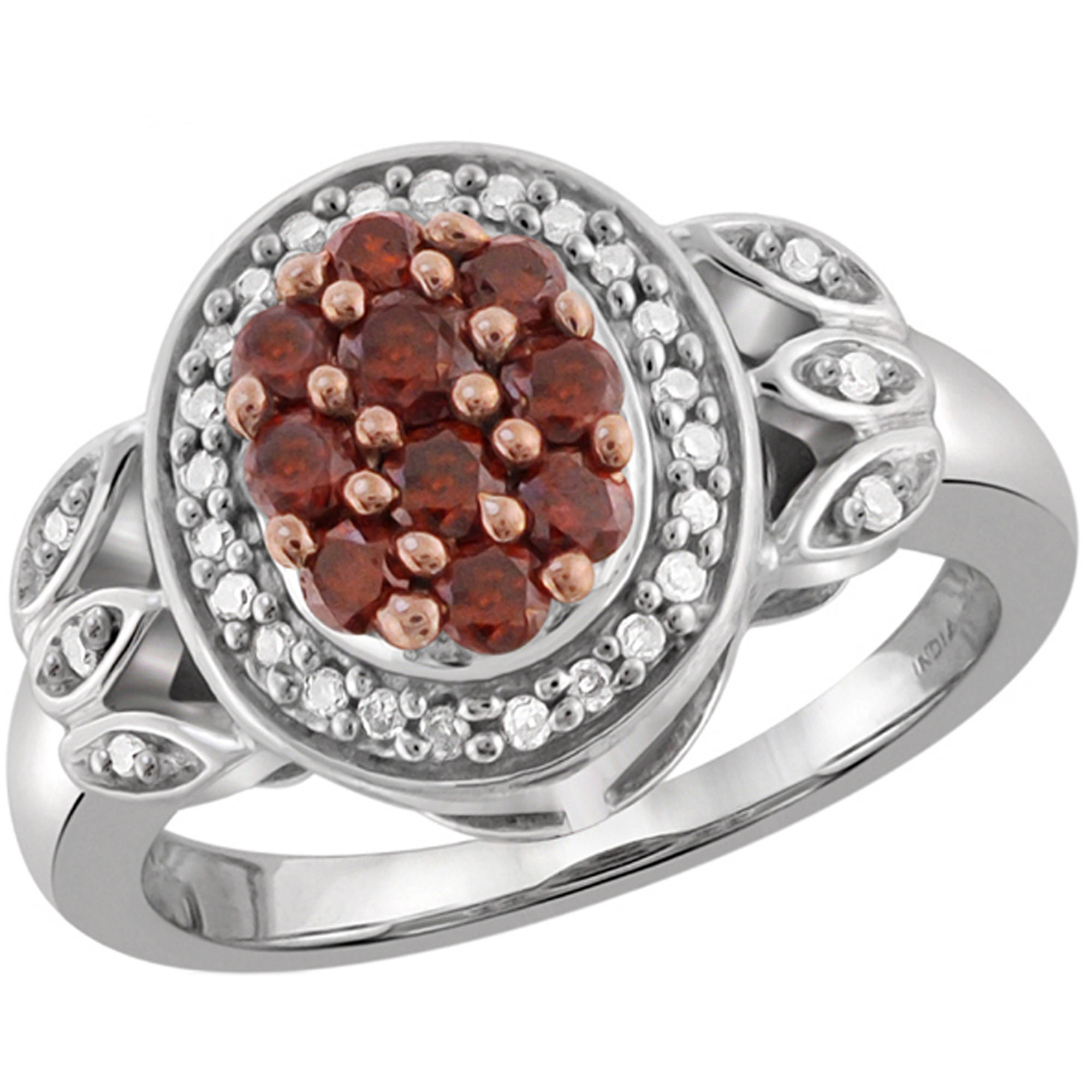 JewelersClub 1/2 Carat T.W. Red and White Diamond Sterling Silver Ring