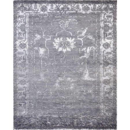 Silky Fusion - Pasargad 's Silk Fusion Collection Grey Hand-knotted Viscose from Bamboo and Wool Rug (8' x 10') - 8 x 10