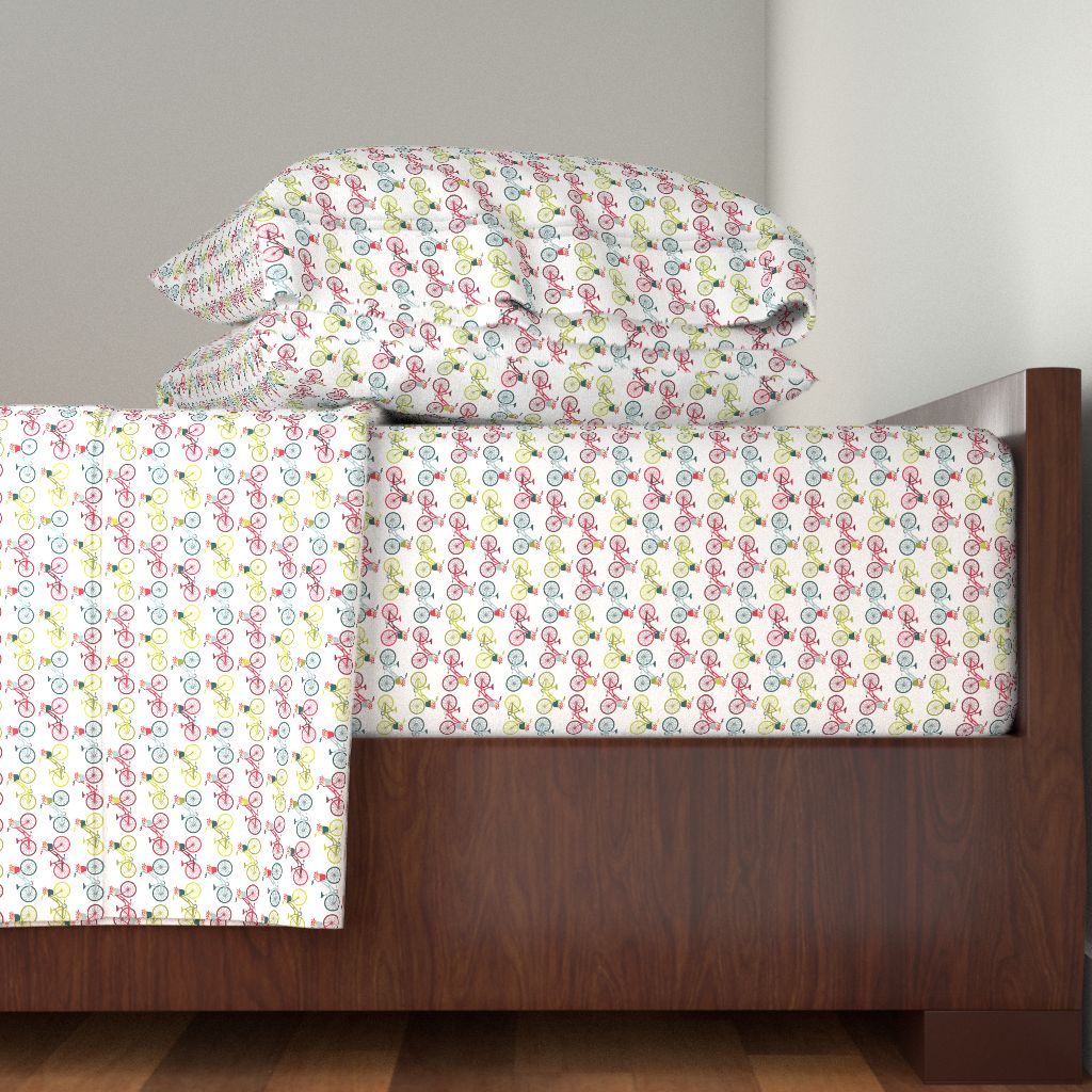 Bicycles 100% Cotton Sateen Sheet Set by Roostery