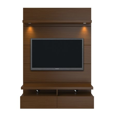 Cabrini 1.2 Floating Wall Theater Entertainment Center in Nut Brown