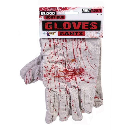 Bloody Work Gloves Costume Accessory, One pair of blood splattered work gloves By Forum Novelties (Blood Splatter Costume)