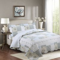 Fancy Linen 3pc California King Reversible Bedspread Floral Off White Blue Beige New # Madison