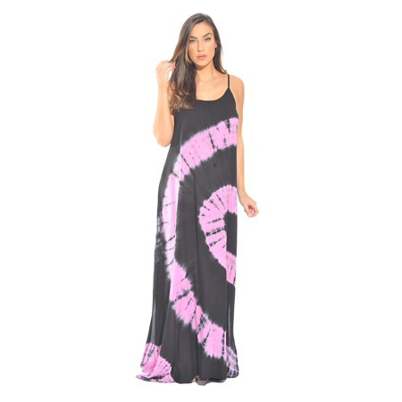 Silk Tie Dye Dress - Riviera Sun Tie Dye Spaghetti Strap Maxi Dress