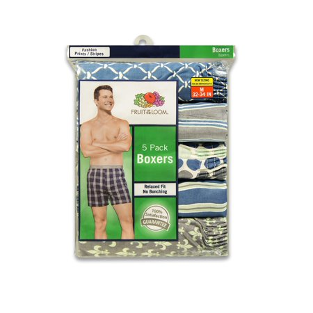 Men's Dual Defense Fashion Print/Stripe Boxers, 5 (Fruit Of The Loom Mens Boxers)