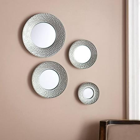 4 Piece Hammered Silver Metal Decorative Round Mirror Set ...