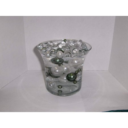 Easy Wedding Decorations (Easy Elegance Wedding Centerpiece and Decoration - White and Dark Green Pearl Beads -includes 12 gram packet JellyBeadZ Water bead)