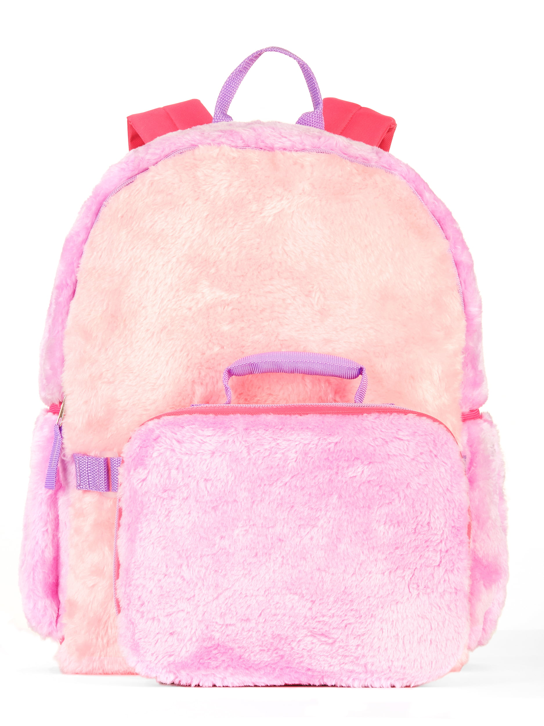 S Colorblock Fur Backpack With Lunch Bag