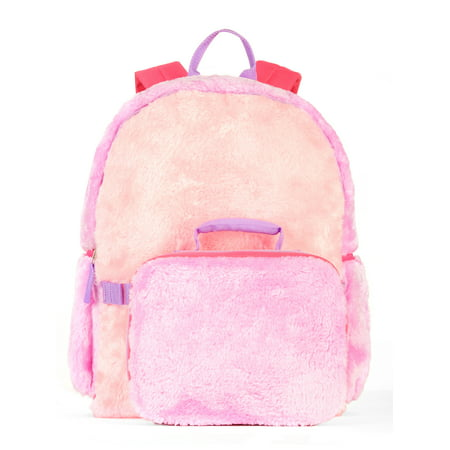 Girls' Colorblock Fur Backpack With Lunch Bag - Backpack With Lunchbox