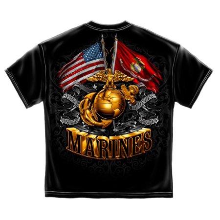 Cotton Double Flag Gold Globe Marine Corps T-Shirt