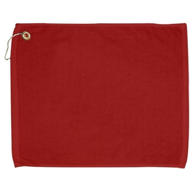 Bulk Buys 15x18 100 percent Cotton Velour RedHand Towel with Corner Grommet and Hook - Case of 144