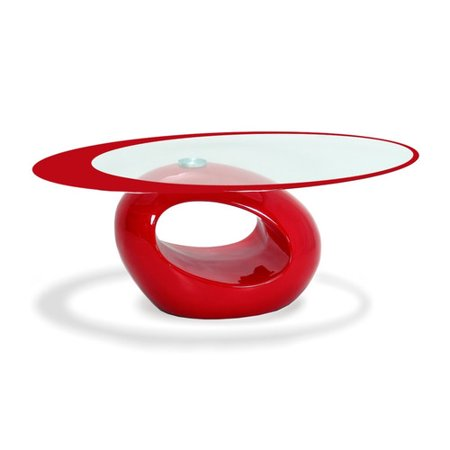 Rnd Glass Top Table (Stylish Red Oval Shape Coffee Table)