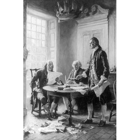 Benjamin Franklin reading draft of Declaration of Independence John Adams seated and Thomas Jefferson standing and holding feather pen and paper around table Poster Print by Jean Leon Gerome