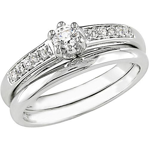 1/4 Carat T.W. Round Diamond Bridal Ring Set in 10kt White Gold