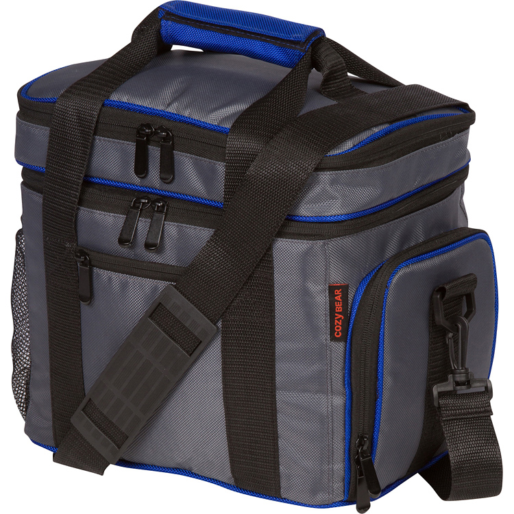 Insulated Cooler Lunch Bag - Multiple Storage Pockets - For Men, Women, and Children by Cozy Bear (Gray with Blue Trim)