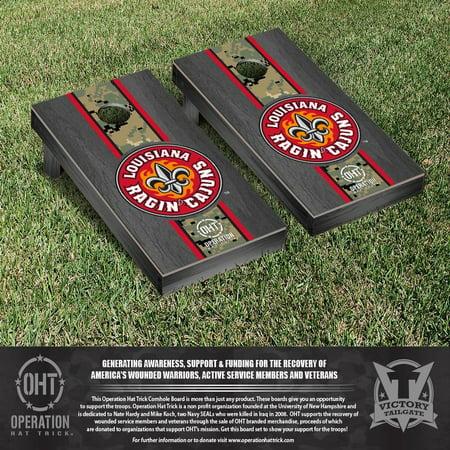 Operation Hat Trick Louisiana Lafayette Ragin Cajuns Cornhole Game Set Onyx Stained Stripe Version