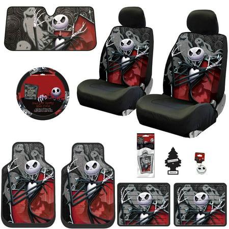 New 15 Pieces Nightmare Before Christmas Jack Skellington Ghostly Car Truck Suv Seat Covers Floor Mat Bundle Set