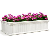 Gymax 48''x24'' Raised Garden Bed Rectangle Plant Box Planter Flower Vegetable Brown/White