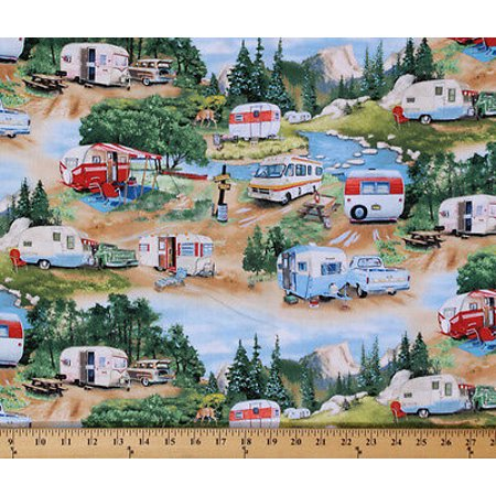 Vintage Halloween Material (Cotton Vintage Trailers Campers Camping Outdoors RV's  Cotton Fabric Print by the Yard 3502)