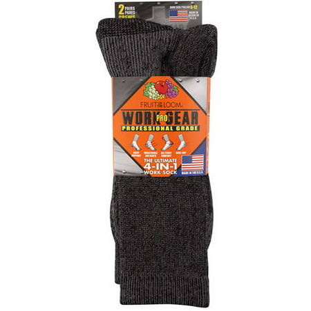 Fruit of the Loom Pro Work Gear Men's Socks, 6-12, Black ()