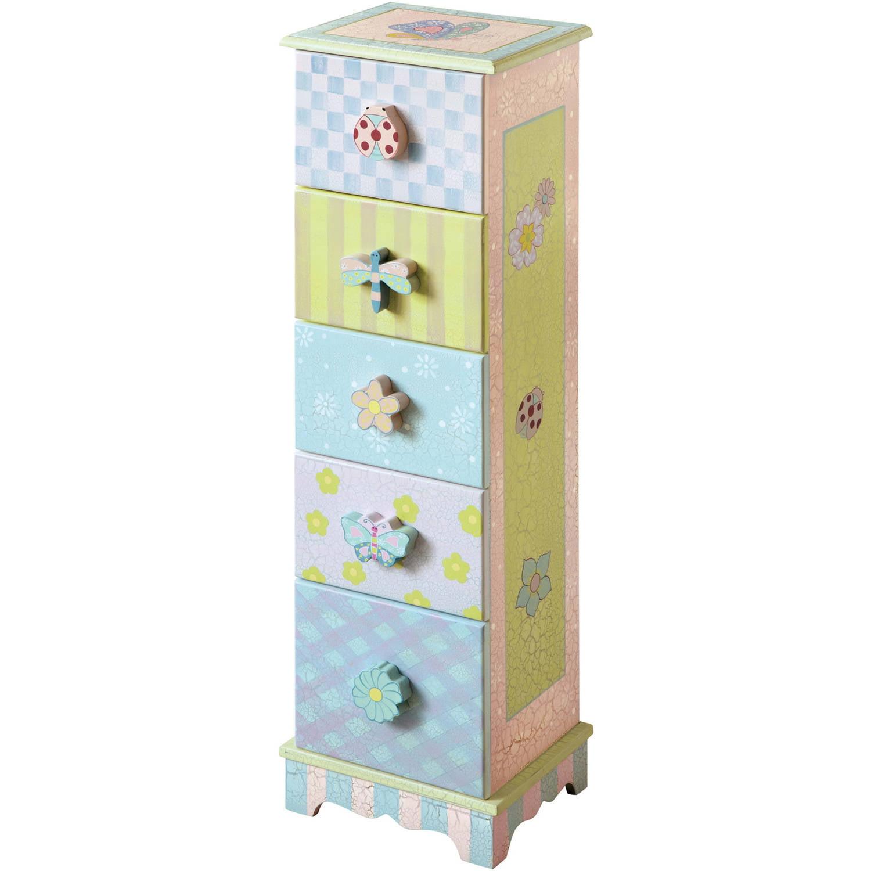 Fantasy Fields Crackled Rose 5-Drawer Cabinet by Teamson