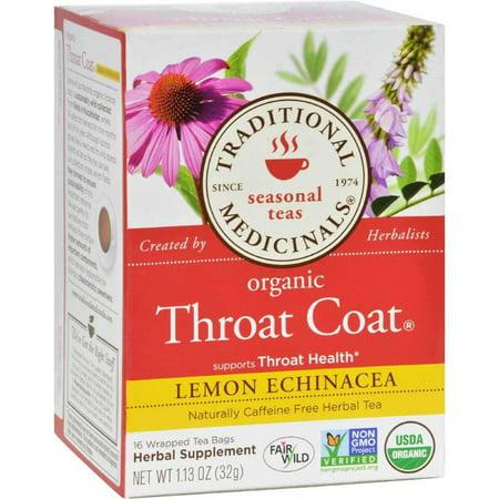 Organic Lemon Echinacea Throat Coat Herbal Tea - 16 Tea Bags, Supports throat health By Traditional Medicinals