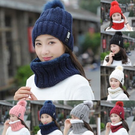 3e7e980b4f3 2PCS set Winter Women Ladies Wooly Thick Knit Hat And Scarf Set knitted New  - Walmart.com