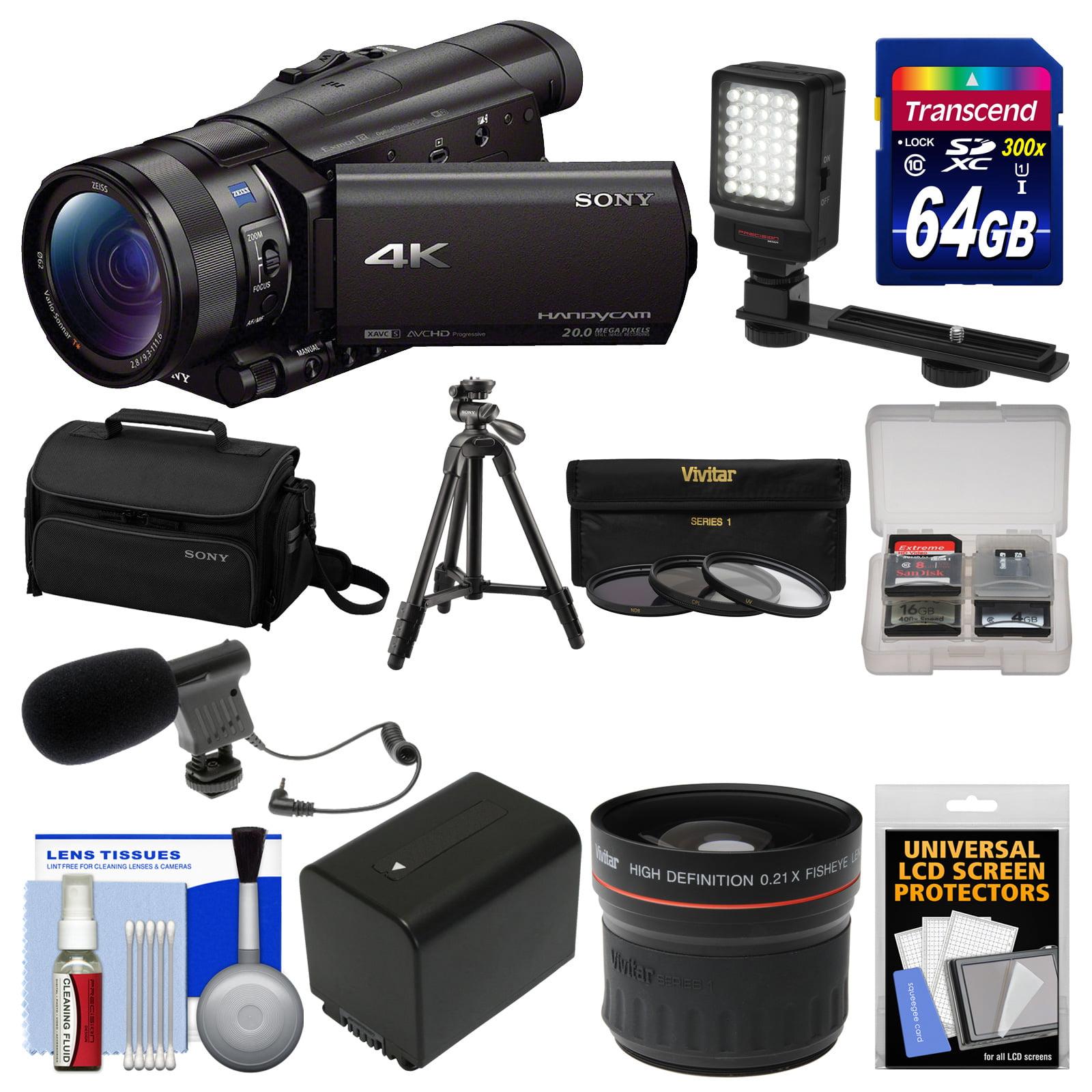 Camara Fotografica Compacta  Sony Handycam FDR-AX100 Wi-Fi 4K HD videocámara con tarjeta de 64GB + funda + luz LED + batería + micro + trípode + lente ojo de pez + Kit + Sony en Veo y Compro