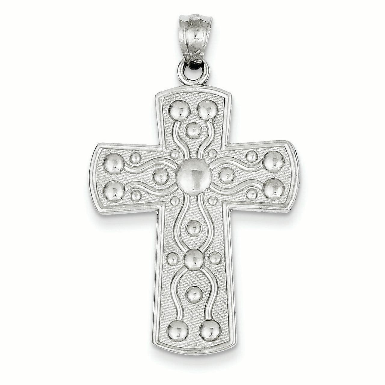 14k White Gold Cross w/Serenity Prayer (24x37mm) Pendant ...