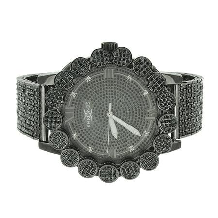 Custom Bezel - Black Diamond Khronos Watch Black Iced Out Custom Flower Bezel Joe Rodeo Jojino Jojo Look New