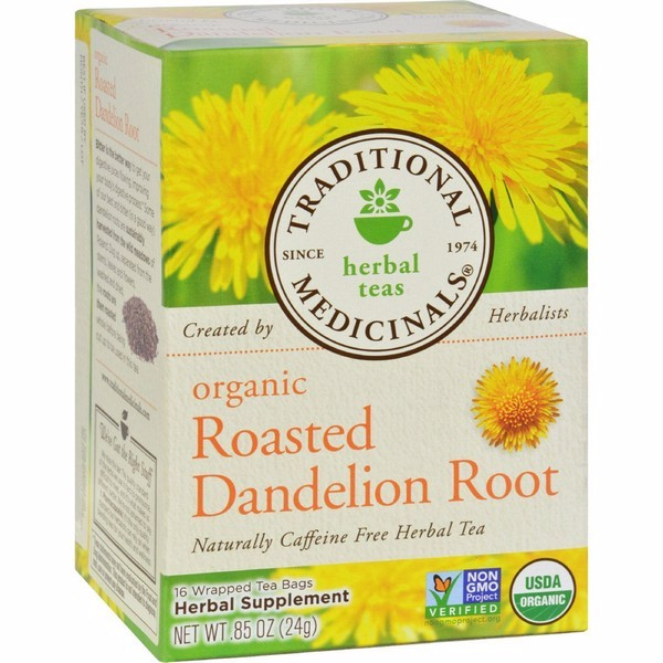Traditional Medicinals Organic Roasted Dandelion Root Herbal Tea - 16 Tea Bags - Pack of 6