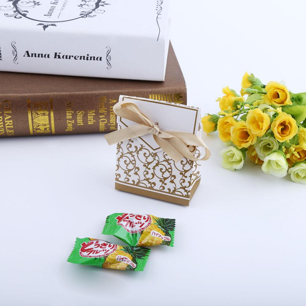 Yosoo 50Pcs/bag Elegant Candy Paper Boxes Romantic Weeding Party Favor Gift Bags with Ribbon, Candy Paper Bag,Candy Paper Box