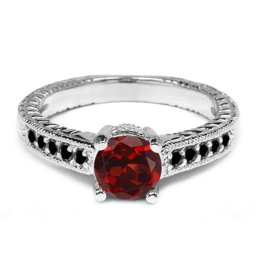 1.17 Ct Round Red Garnet Black Diamond 925 Sterling Silver Engagement Ring