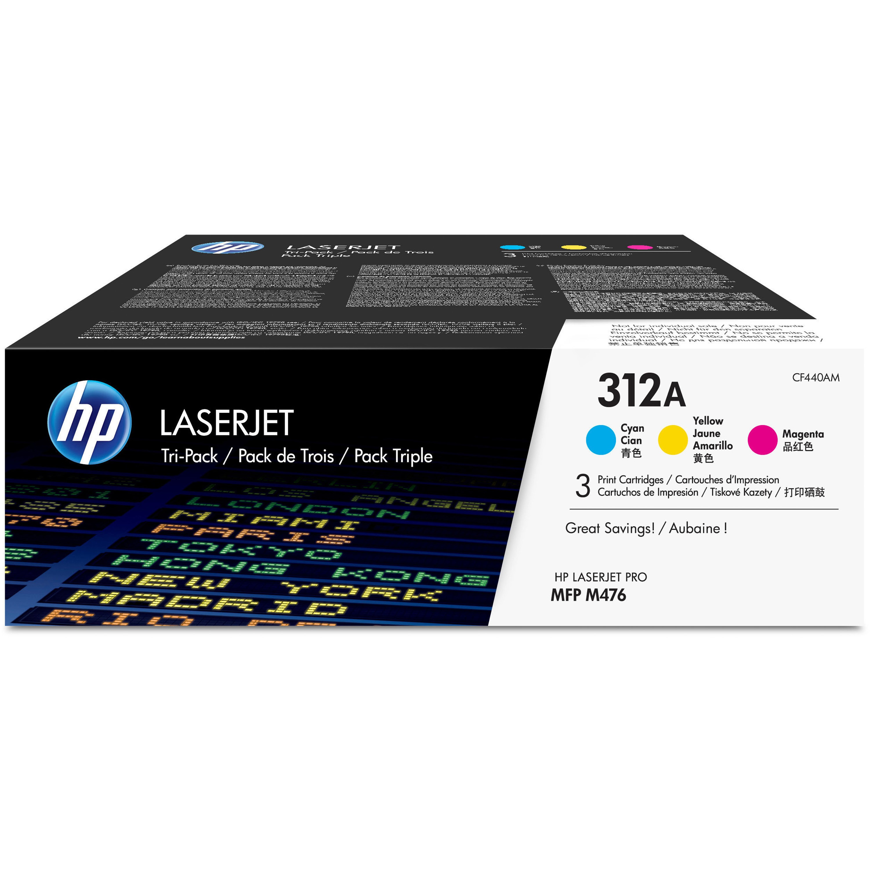 HP 312A (CF381AM) Cyan/Magenta/Yellow Original LJ Toner Cartridges, 3 pack