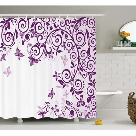 Mauve Decor Shower Curtain Classic Embellished Twiggy French Style Lilium Floral Branch Lovely Swirls